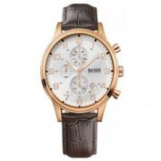 Hugo Boss - 1512519 - Montre Homme - Quartz Analogique - Cadran Blanc - Bracelet Cuir Marron