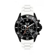 Ice Watch - CH.BW.B.S.10 - Ice Chrono - Montre Homme - Quartz Analogique - Cadran Noir - Bracelet Silicone Blanc - Grand Modèl