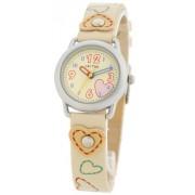 Cactus - CAC-20-L11 - Montre Fille - Quartz - montre d'apprentissage - Bracelet plastique Beige