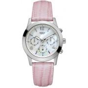 Guess Montre femme Mini Spectrum - Sports Chronographe - Blanc Nacre Cadran - Bracelet en Cuir Rose - W11148L1